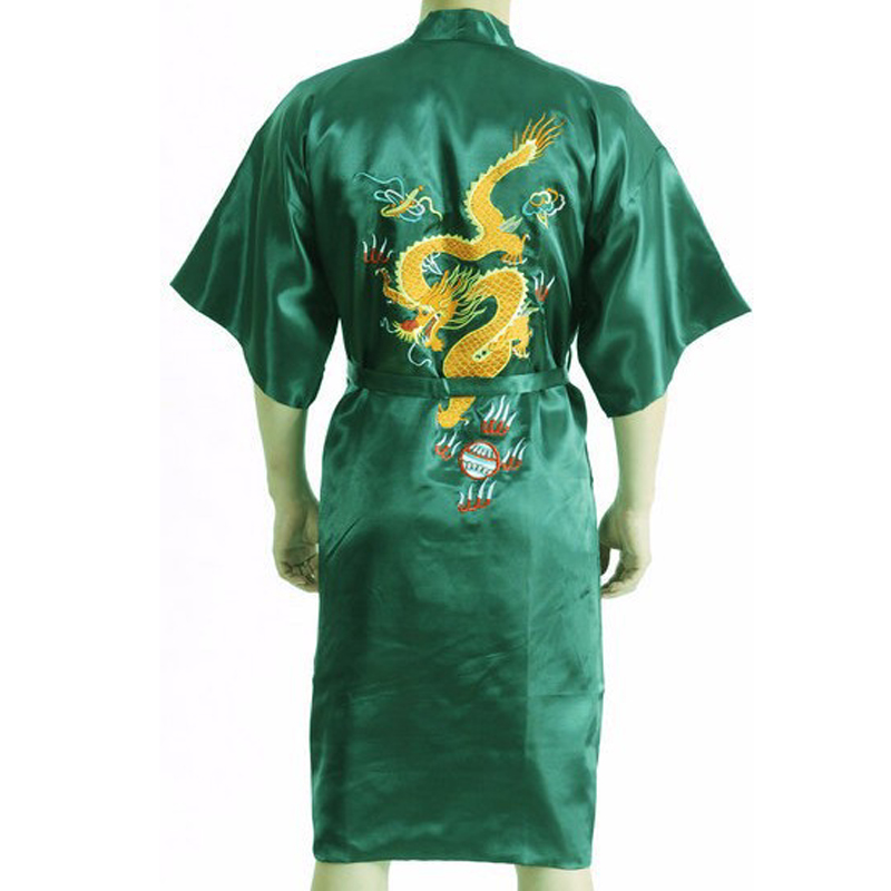 Summer New Green Chinese Men's Traditional Robe Bathrobe Novelty Embroider Dragon Sleepwear Kimono Gown Plus S-XXXL 011007