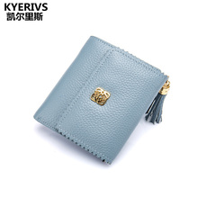Натуральная Воловья кожа Для женщин Женские Кошельки короткие портмоне маленький кошелек Для женщин кошелек бренд высокое качество дизайнер кисточкой мини-кошелек