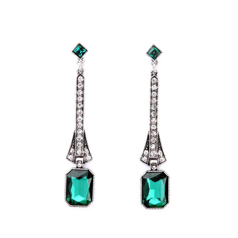 Fiesta de noche brillante verde largo cuelga los pendientes del Día de San Valentín mejor venta de joyería de lujo