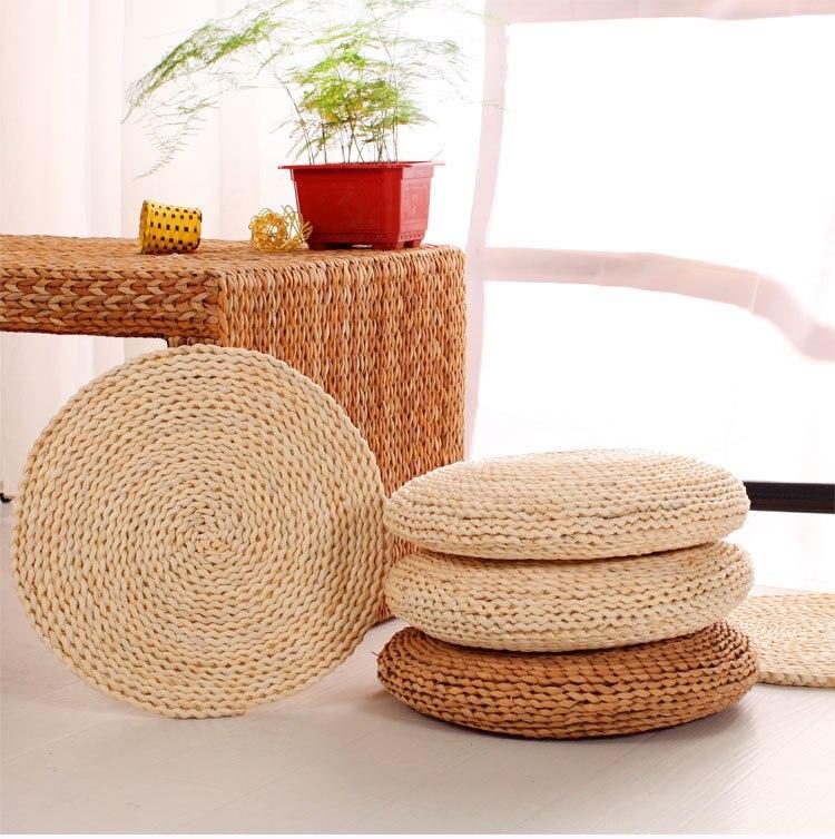 Seat Cushion Grass Rattan Weaving Play Mat Japanese Tatami Handmade Corn Straw Mat Futon Meditation Sofa Yoga Home Decor