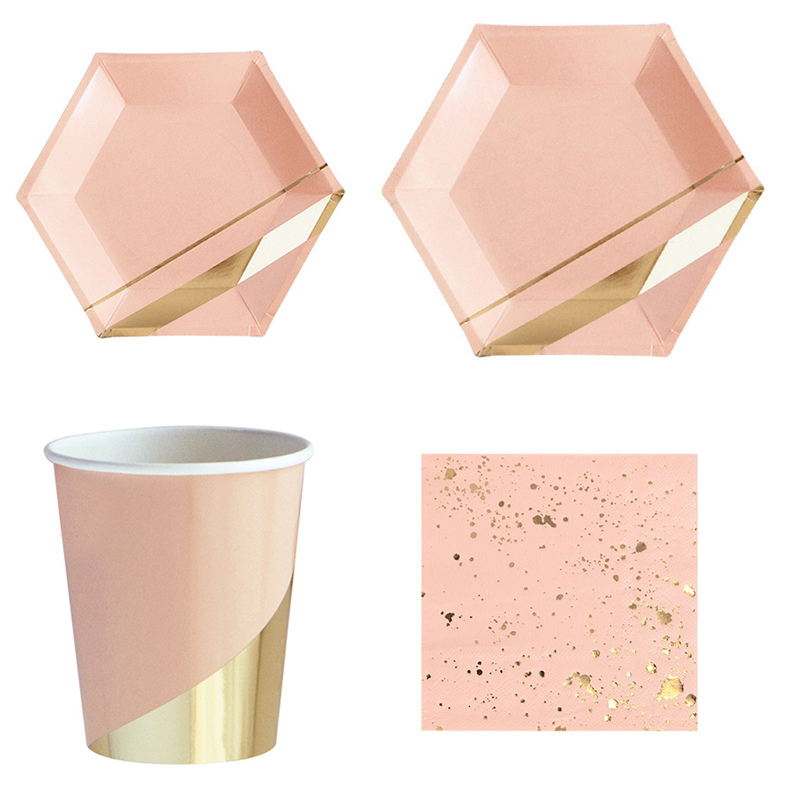 68 Pcs/Set Rose Gold Paper Pink Disposable Tableware Birthday Party  Plates Cups Napkin Carnival Christmas Decor Party Supplies68 Pcs/Set Rose Gold Paper Pink Disposable Tableware Birthday Party  Plates Cups Napkin Carnival Christmas Decor Party Supplies