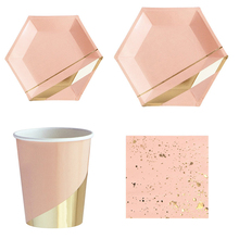 68 Pcs/Set Rose Gold Paper Pink Disposable Tableware Birthday Party Plates Cups Napkin Carnival Christmas Decor Party Supplies