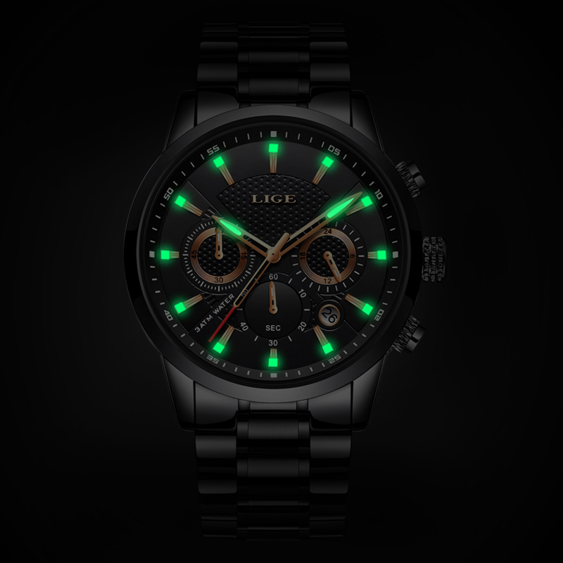 LIGE Watches Men Top Brand Luxury Classic Black Quartz Men Watch Male Fashion Waterproof Full Steel Sport Watch Montre homme+Box-in Quartz Watches from Watches