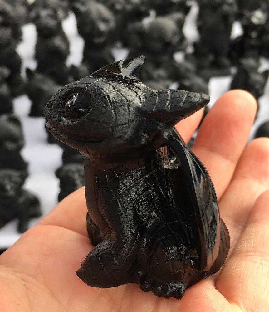 1 шт. натуральный ручной изысканно резной легкий яростный Беззубик Черный Дракон из обсидиана для продажи - 2