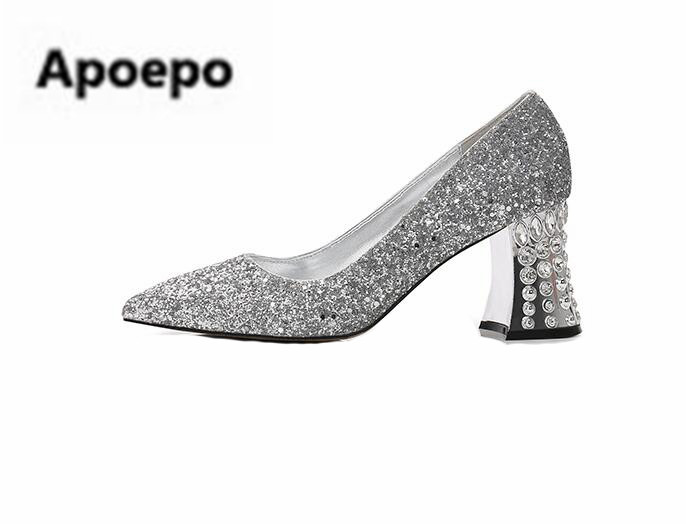 Apoepo brand 2018 newest bride wedding shoes sliver gold gray pointed toe sexy pumps crystal high heels shoes women bling pumps luxury shoes women sliver wedding shoes pumps pointed toe gold party extreme high heels bling silver evening ladies shoes 8 6005