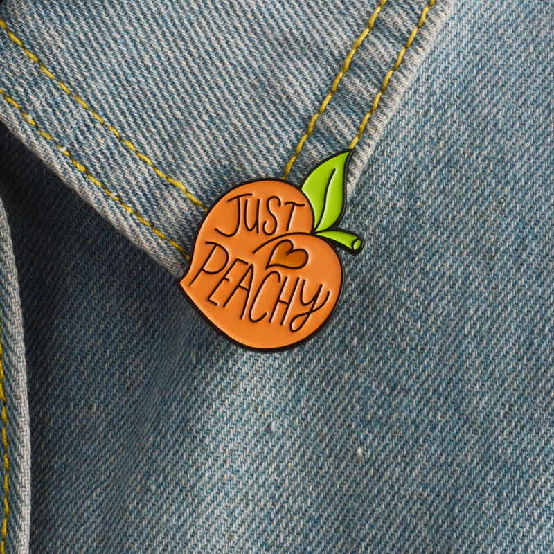 Fresh Peach Banana Lemon Cactus Forest Mountain Enamel Pin Fruit Plants Travel Adventure Brooches for Women Men Badge Collection in Brooches from Jewelry Accessories