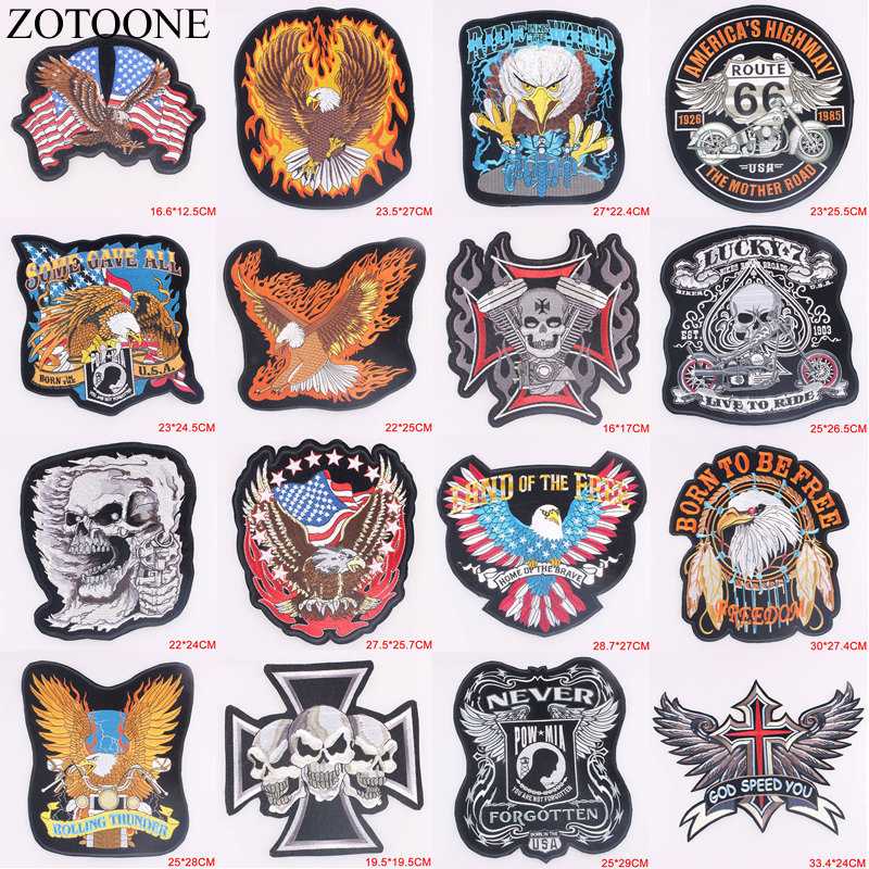ZOTOONE Punk Rock Bike Patch Large Embroidery Biker Motorcycle Iron On Patches For Clothes Jeans Vest Jacket Back C