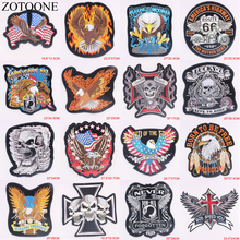 ZOTOONE Punk Rock Bike Patch Large Embroidery Biker Patch Motorcycle Iron On Patches For Clothes Jeans Vest Jacket Back Patch C reapermagic 1% mc iron on patch motorcycle biker large full back size embroidery patch for jacket vest rocker custom