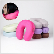 2017Pure Color U Shaped Neck Micro Beads Rest Airplane Car Travel Bed Pillow Memory Foam Bedding Set