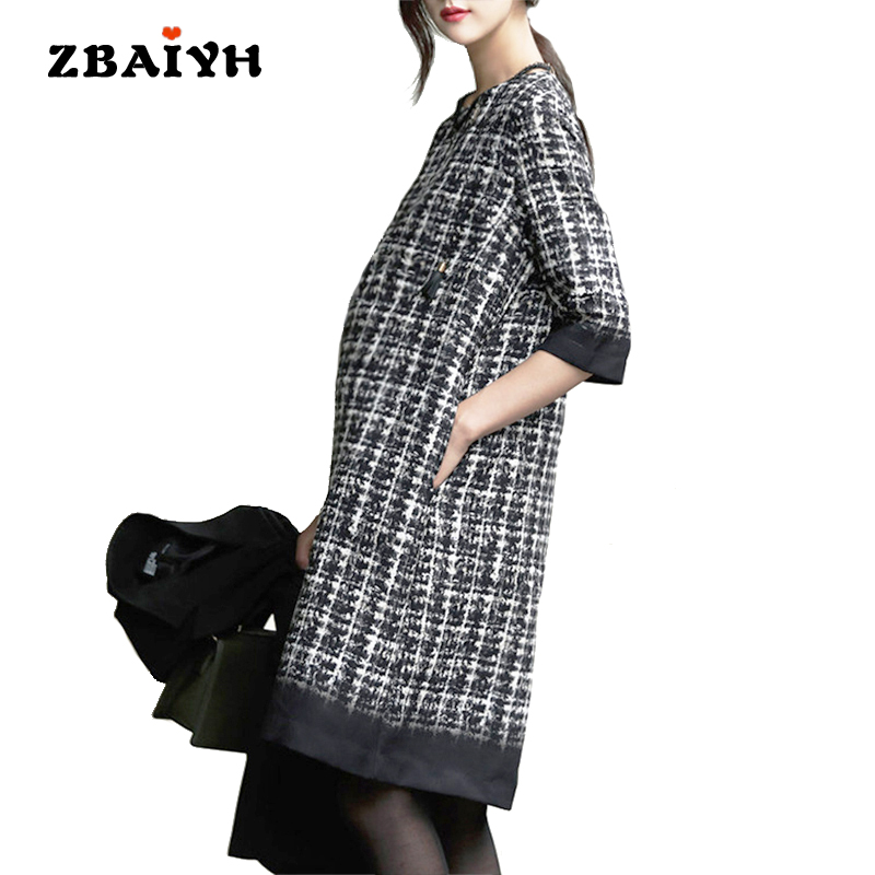 Autumn Winter Maternity Dress Fashion Houndstooth Half-sleeve O-neck Pregnant Women Dress High Quality Office Maternity Clothes cartoon bear fashion maternity suit for pregnant women with high quality maternity clothes