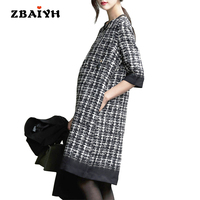 Autumn Winter Maternity Dress Fashion Houndstooth Half sleeve O neck Pregnant Women Dress High Quality Office Maternity Clothes