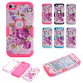 Peony Floral Flower Shockproof 3 in 1 Hybrid Silicone TPU & Hard PC Combo High Impact Case Cover for iphone 6 6S