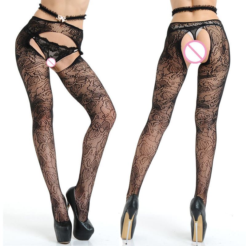 new bow lace open crotch mesh Women Stockings Female Sexy Stockings Fishnet Tights Pantyhose high waist Tight sexy lingerie 022