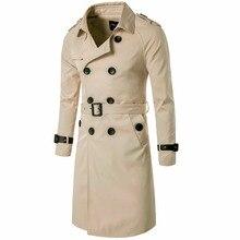 2017 зимняя длинная стильная Для мужчин пиджак двубортный кожа Тренч зимняя верхняя одежда Повседневное пальто Для мужчин куртка ветровка
