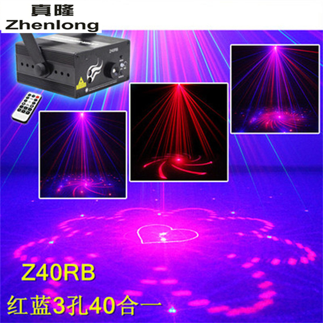 3 Lens 40 Patterns R & B Laser +Blue LED Stage Light DJ Party show Professional Projector Laser Light Bar KTV Flash Ceiling Lamp