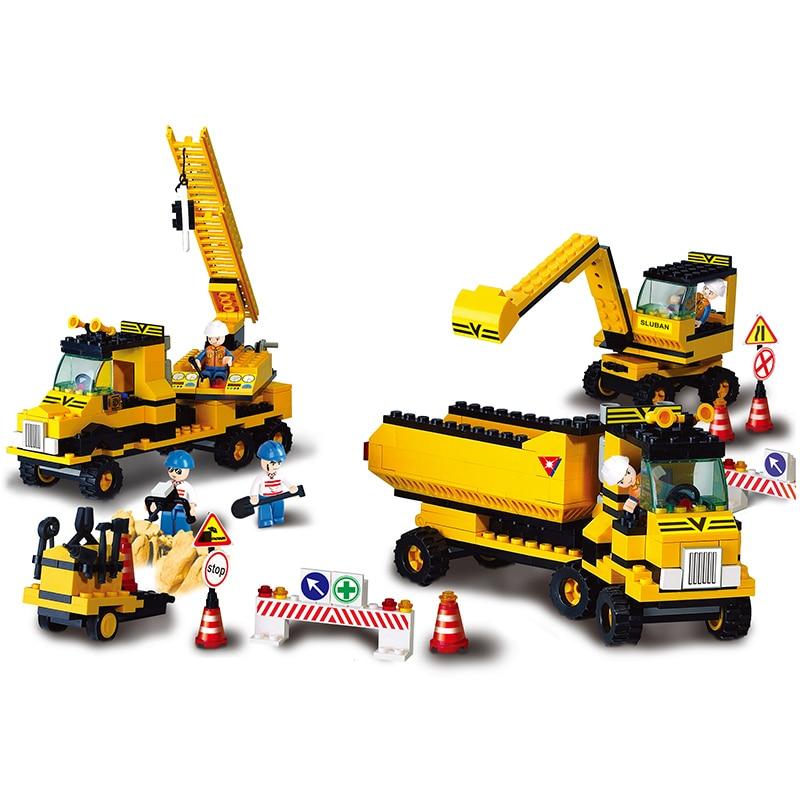 Sluban Model Building Compatible lego Lego B9700 474pcs Model Building Kits Classic Toys Hobbies Excavator Group цена