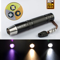 The Newest Three Light Sources LED Flashlight 365NM UV For Fluorescent Agents Detecting Yellow Light White