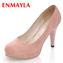 ENMAYER  new style Closed Toe Round High heel shoes Casual for women 4 colors pumps black, blue, beige, pink