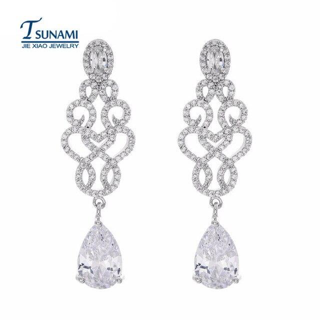 Famous Brand Micro Droplets Cubic Zirconia Earrings New Fashion Elegant Long Zircon High Quality Women