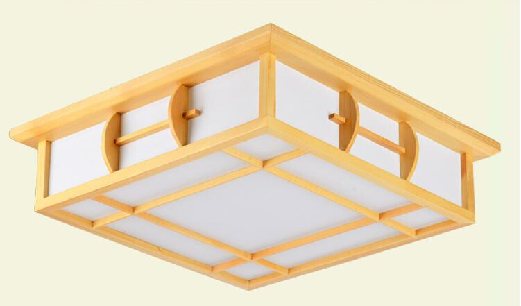 Japanese Led Ceiling Light AC90-265V Indoor Lighting Square 45-55cm Solid Wood Natural Bedroom Living Room Lamp Foyer Lamps japanese led ceiling light ac90 265v indoor lighting square 45 55cm solid wood natural bedroom living room lamp foyer lamps