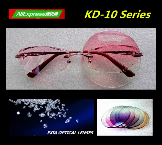 Optical Glasses Women Pink Tinted Ophthalmic 1.61 High Index HMC ASP Lenses Rimless Eyewear EXIA OPTICAL KD-10 Series