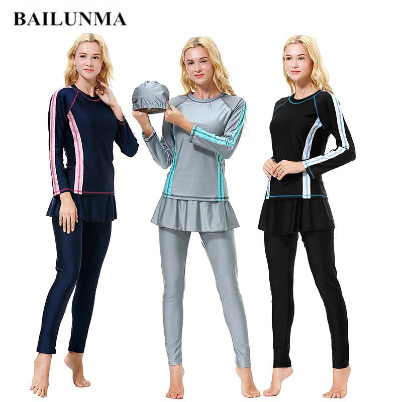 BAILUNMA Burkinis Muslim swimwear Islamic Swimsuit Full Cover Long Sleeve Hijab Muslim Swim Wear Women Swimsuits Arab H1010 tights