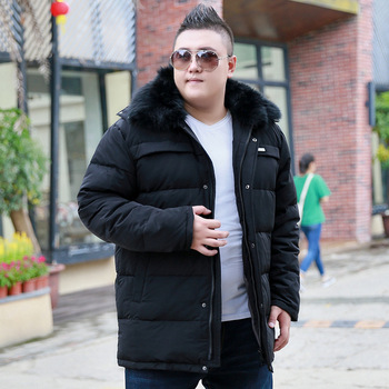 2019 Men's Thick Large size Hhooded Short Fur Collar Cotton Coat Autumn and Winter Collar Men's jacket Color Black / Dark blue