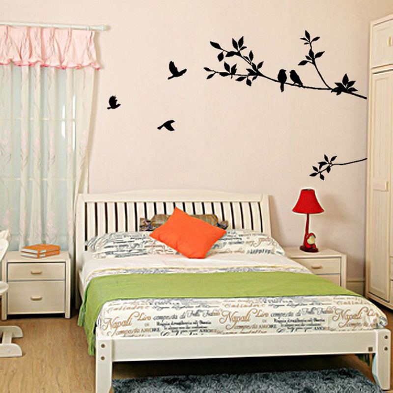 Tree Branch Black Bird Art Wall Stickers Living Room Bedroom Ceiling Office Removable Vinyl Decal Home Decorations Bk