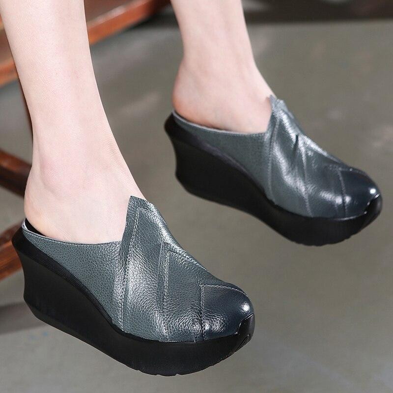 dc9f41e17a1f21 Hauts Chaussures D'été La bleu Décontracté Noir Femmes Babouches À Cuir  Main Cm Compensés Noir Pantoufles En Mules Talons 8 qfB8H