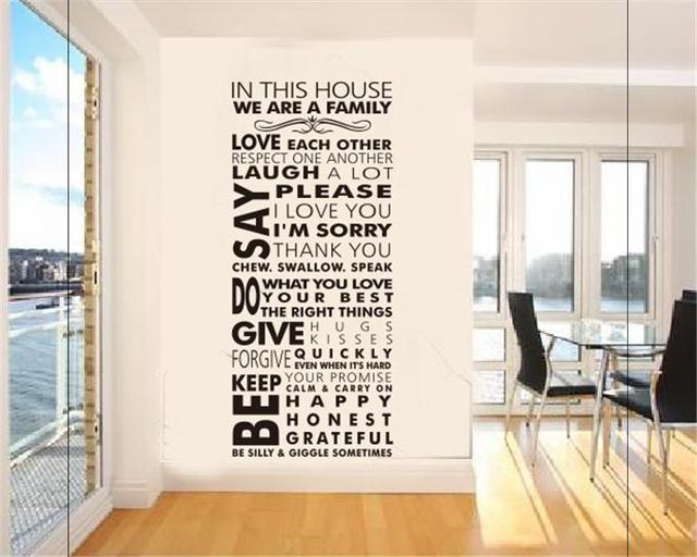 In This House Rules Wall Stickers Family Room Decoration 8085. Diy Vinyl  Adesivo De Parede