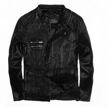 2018 мужские черные стоять воротник кожаной куртке плюс Размеры XXXXL зима теплая Slim Fit Повседневное кожаные пальто фабрики Бесплатная доставка