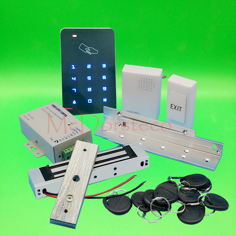 DIY Touch Keypad Access Control Complete 125khz Rfid Door Access control system 350lbs Electric Magnetic Lock +ZL Bracket 7 color video door phone intercom system 1 monitor doorbell 2 camera intercom kit ir night vision camera for apartment 816a21