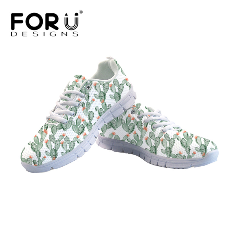 FORUDESIGNS Brand Design Women Walking Flats Shoes Cute Cactus Flower Floral Lace Up Sneakers for Girls Breathable Mesh Zapatos forudesigns 3d flowers pattern women casual sneakers comfortable mesh flats shoes for female girls lace up shoes zapatos mujer