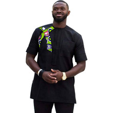 Latest Fashion Short Sleeve Print Tops Men African Shirt Patchwork Dashiki Clothes Slim Fit Custom Made Africa Style Clothing