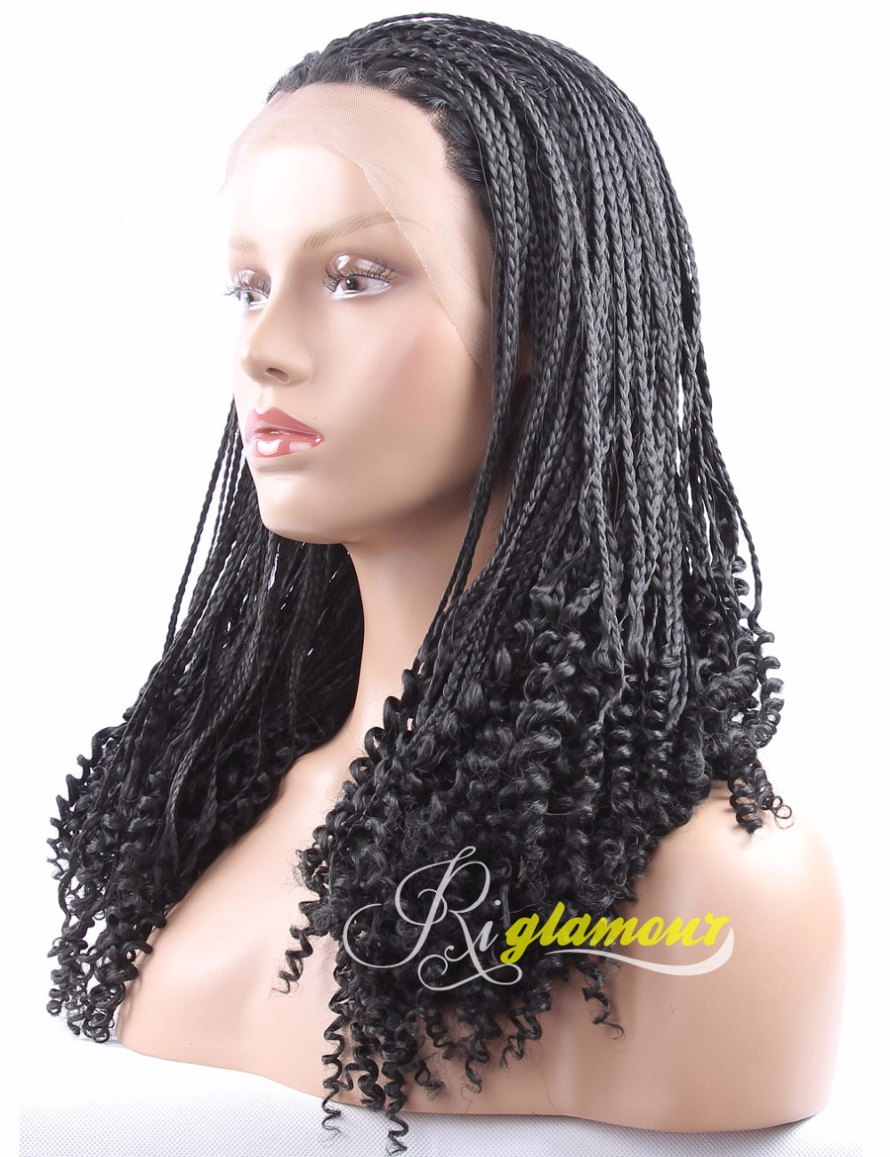 African American Lace Front Long Micro Braided to Curly ...
