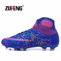 Hot Sale Mens Big Size Soccer Cleats High Ankle Football Shoes Long Spikes Outdoor Soccer Traing Boots for Men Kid High Ankle