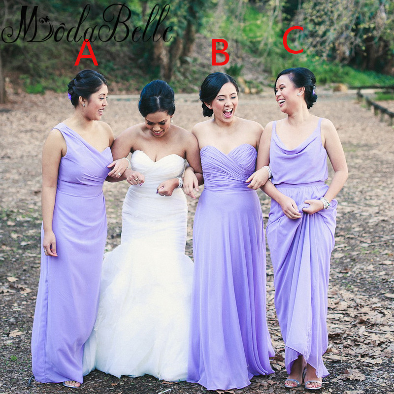 3 different style bridesmaid dresses beach
