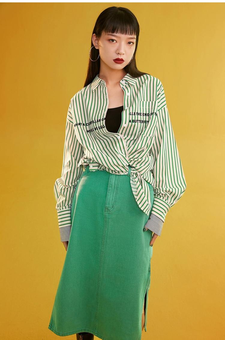Sams Tree Women Denim Skirts Summer 19 Vintage Solid Straight Office Lady Long Skirt Pencil Mid-Calf Femme High Waist Bottoms 5