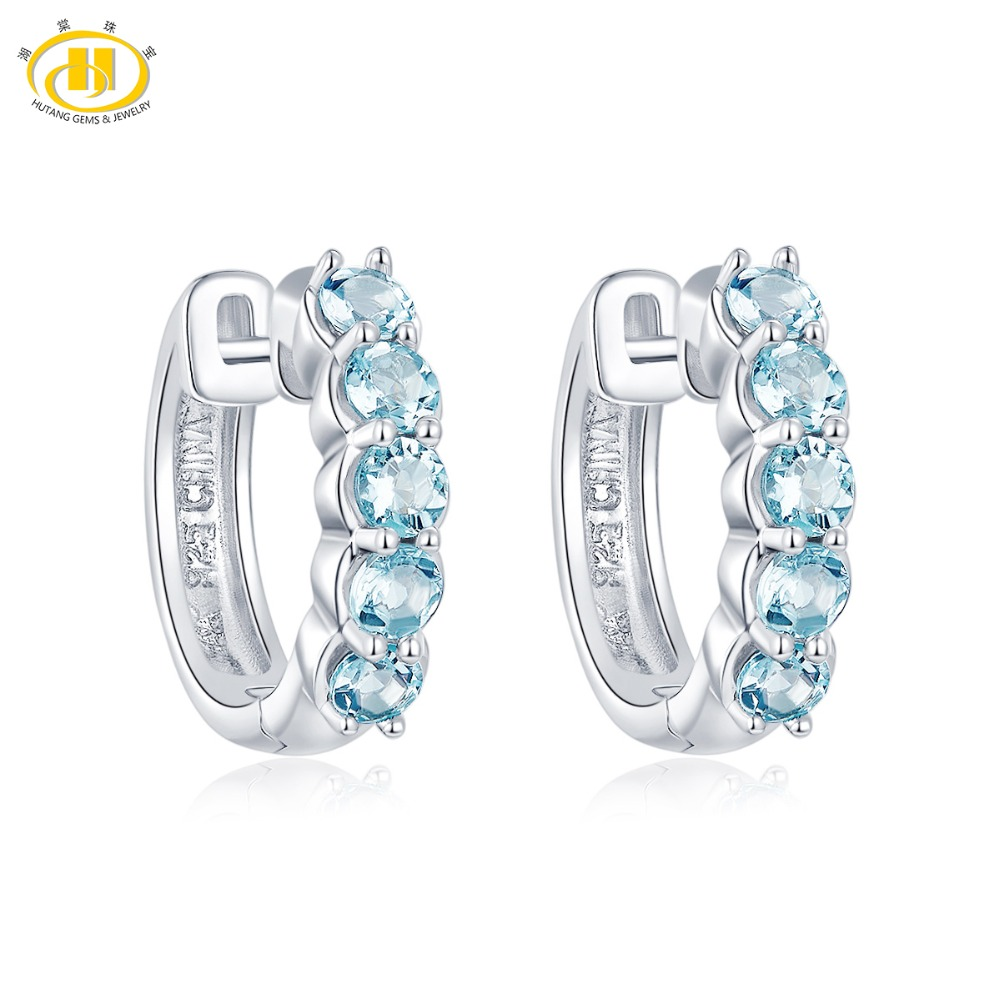 Hutang Natural Aquamarine Hoop Earrings Solid 925 Sterling Silver Round Gemstone Fine Jewelry for Women s