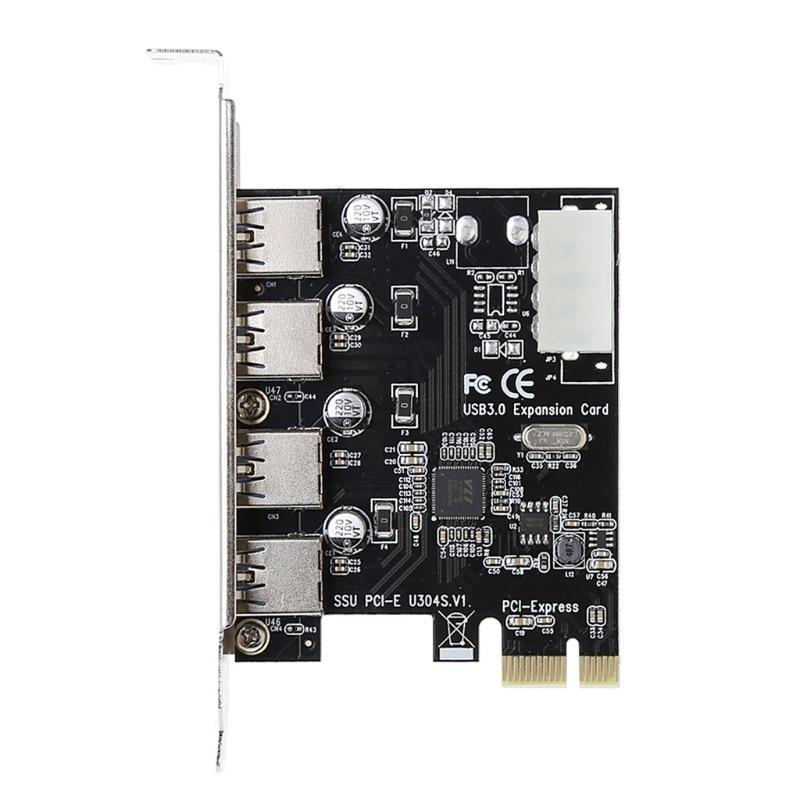 4 Port PCI-E zu USB 3.0 HUB PCI Express Erweiterungskarte Adapter 5 Gbps Geschwindigkeit-PC Freund
