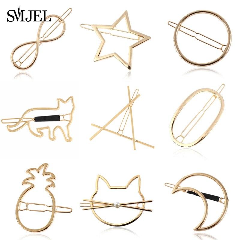 SMJEL Simple Hair Clip Wild Geometric Circle Moon Heart Hairpin Cute Cat Clip Headwear Elegant Metal Wedding Hair Accessories