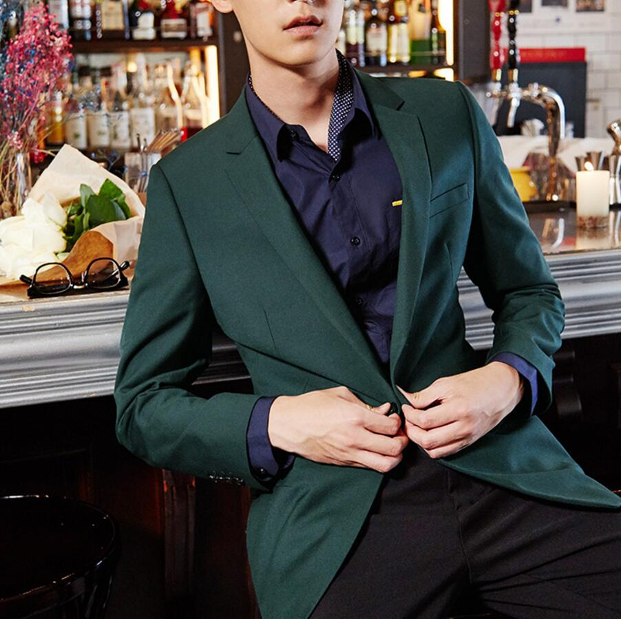 Handsome men dark green coat hot sale new leisure mens suit jacket high quality custom simple style lapel single-breasted blaze