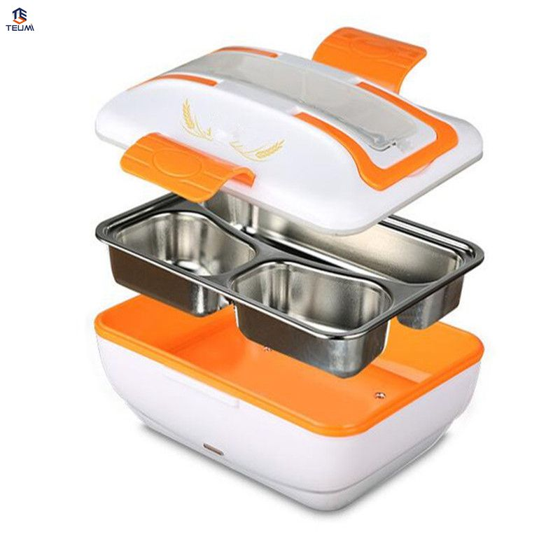 12V Heated Food Containers For Car 45w Gift Dinnerware Set with Compartments 304 stainess steel Food