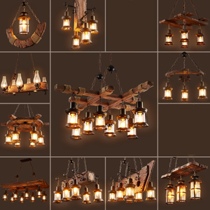 Image 2 - Retro Bar Industrial Wind Chandelier Loft Solid Wood Personality Restaurant Bar Industrial Coffee Shop Industrial Chandelier