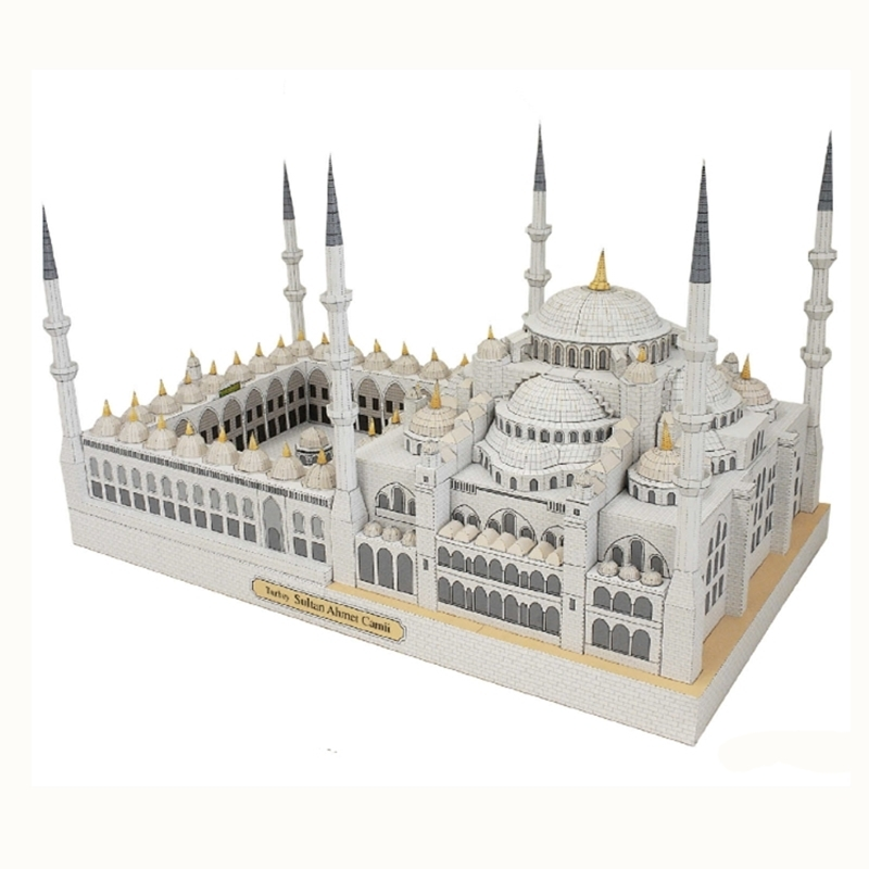 Blue Mosque Turkey Fun 3d Paper Diy Miniature Model Kit Puzzle Toy Children Educational New Year Christmas Gifts Boy Splicing