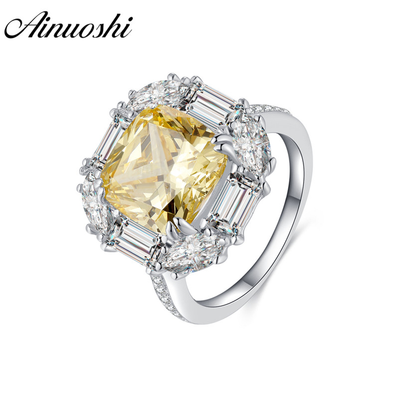 AINOUSHI 925 Sterling Silver Engagement Rings for Women Yellow Stone 5 Carats Cushion Cut Halo Rings anillos plata para mujer AINOUSHI 925 Sterling Silver Engagement Rings for Women Yellow Stone 5 Carats Cushion Cut Halo Rings anillos plata para mujer