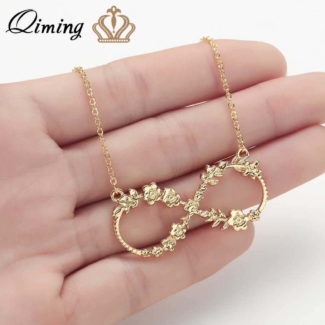 QIMING Rose Flower Infinity Necklace Women Stainless Steel Jewelry Wedding Chic Lucky Number Eight  Men Statement Jewelry Gift