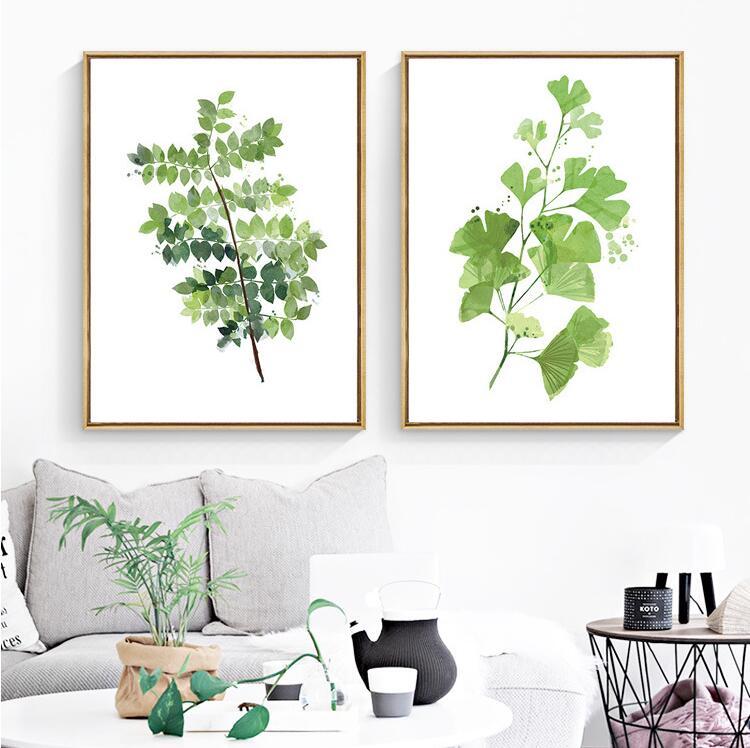 Gerahmte sommer simple aquarell grünen baum blätter wandkunst set hd ...