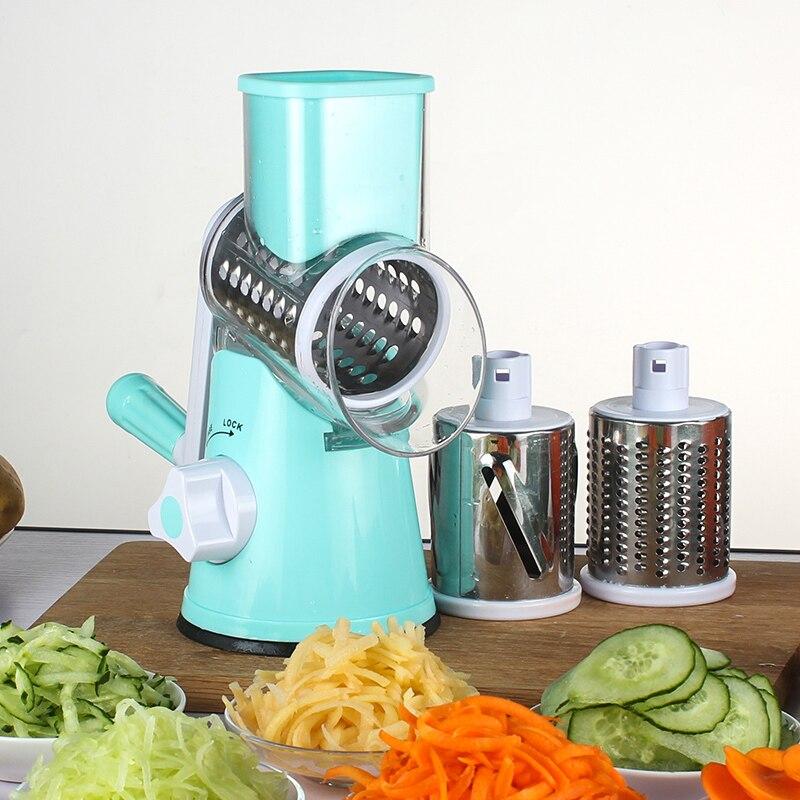 Manual de cortadora de verduras ronda mandolina Slicer rallador para zanahoria de cuchillas de acero inoxidable de cocina Accesorios