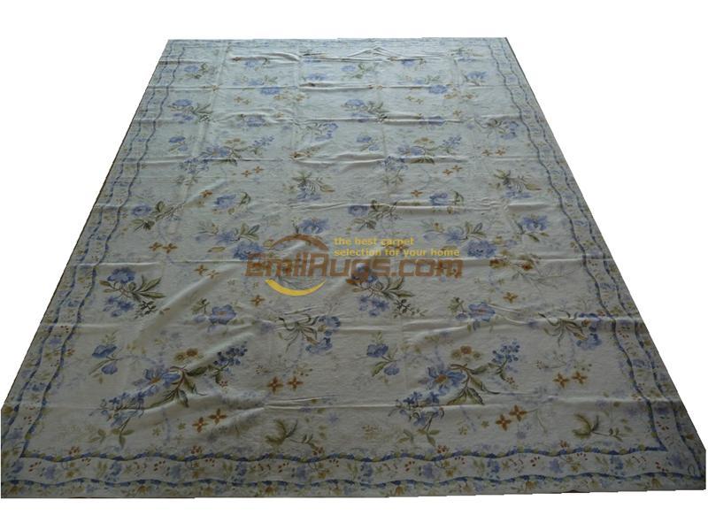 Vintage aiguille point tapis carré Roses à la main laine aiguille à la main Antique laine tapis tapis